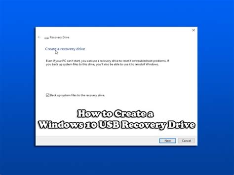 How to Create a Windows 10 USB Recovery Drive - YouTube