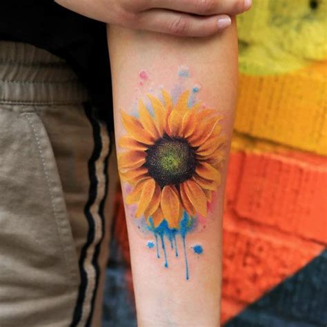 Watercolor Sunflower Tattoo Designs, Ideas and Meaning