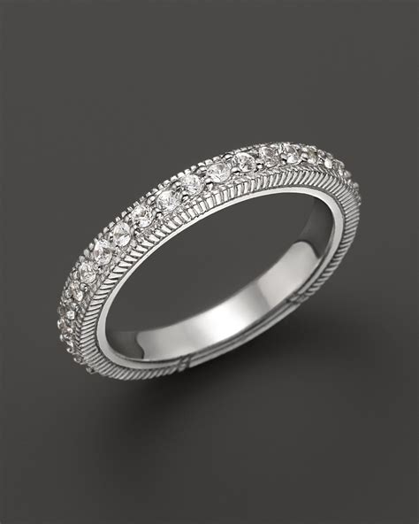 Judith Ripka Sterling Silver Pave Band Ring with White