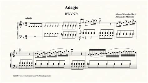 Bach, Adagio, BWV 974 - YouTube (With images)   Piano