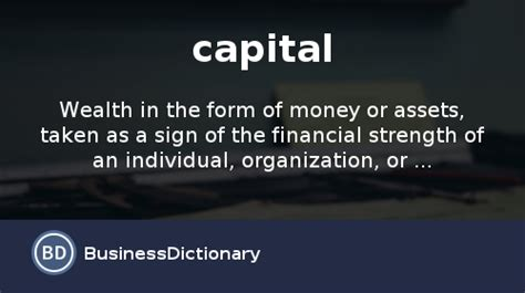 What is capital? definition and meaning