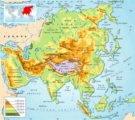 Geography: Physical and political map of Asia