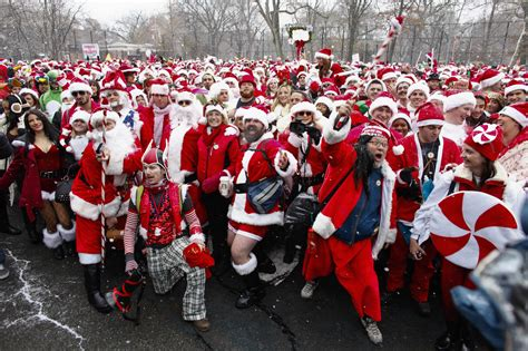 Father Christmas, elves and costumed merrymakers flood